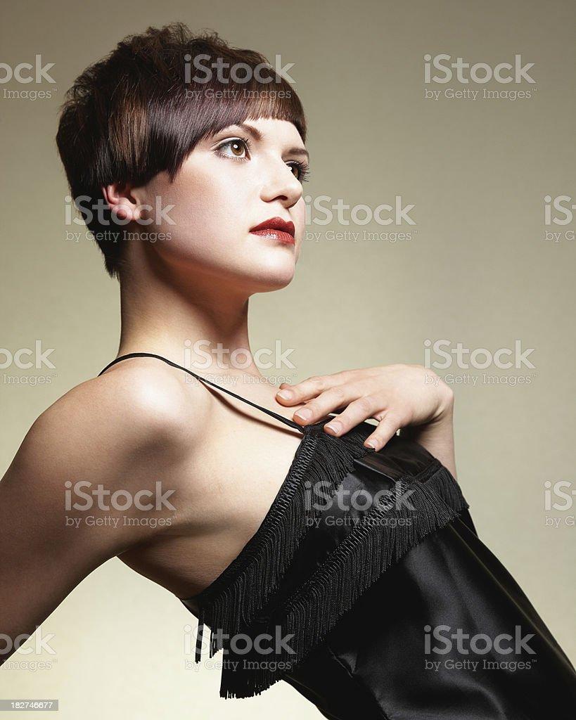 Model Wearing Black Dress. Isolated. royalty-free stock photo