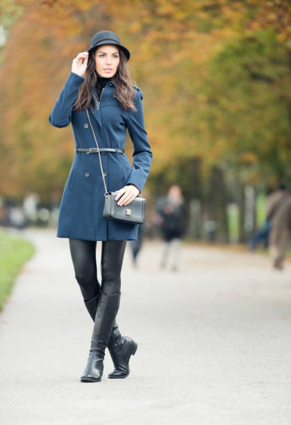 Model wearing Fall Fashion, Outdoor stock photo