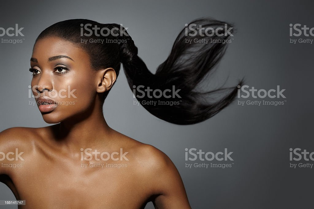Model with a floating ponytail stock photo