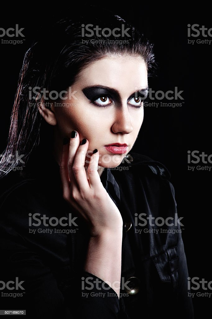 Model with bright fashion make-up stock photo