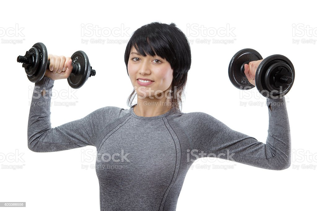 Model with dumbells foto de stock royalty-free