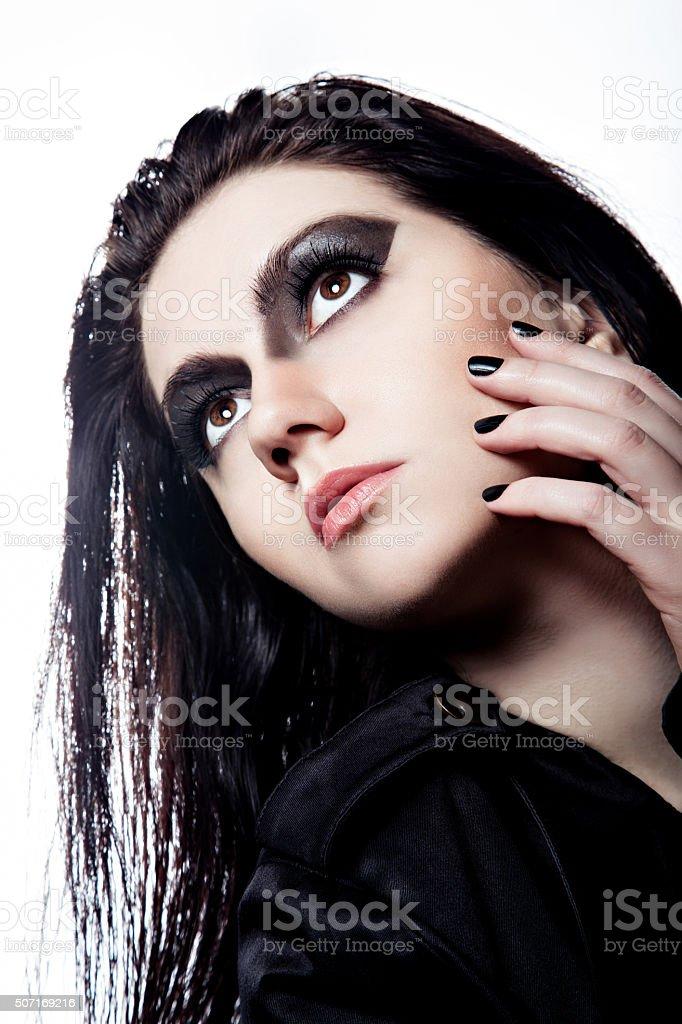 Model with fashion dark make-up stock photo