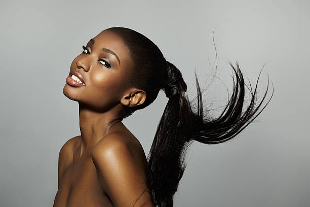 Model With Floating Ponytail stock photo