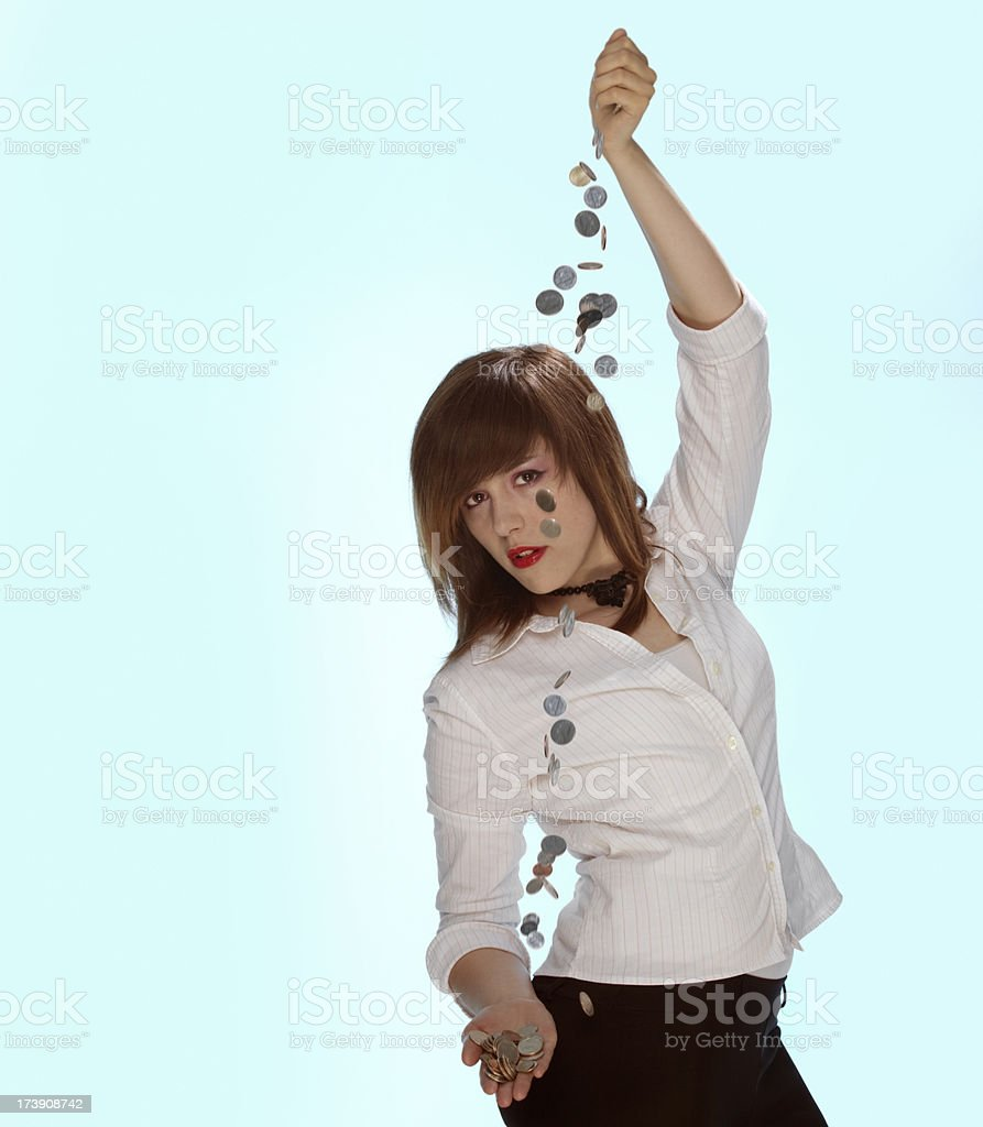 Model With Loads of Change royalty-free stock photo