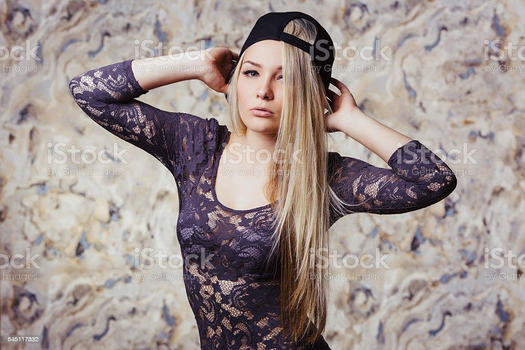 model with long hair in studio wearing sensual lingerie. - foto de stock