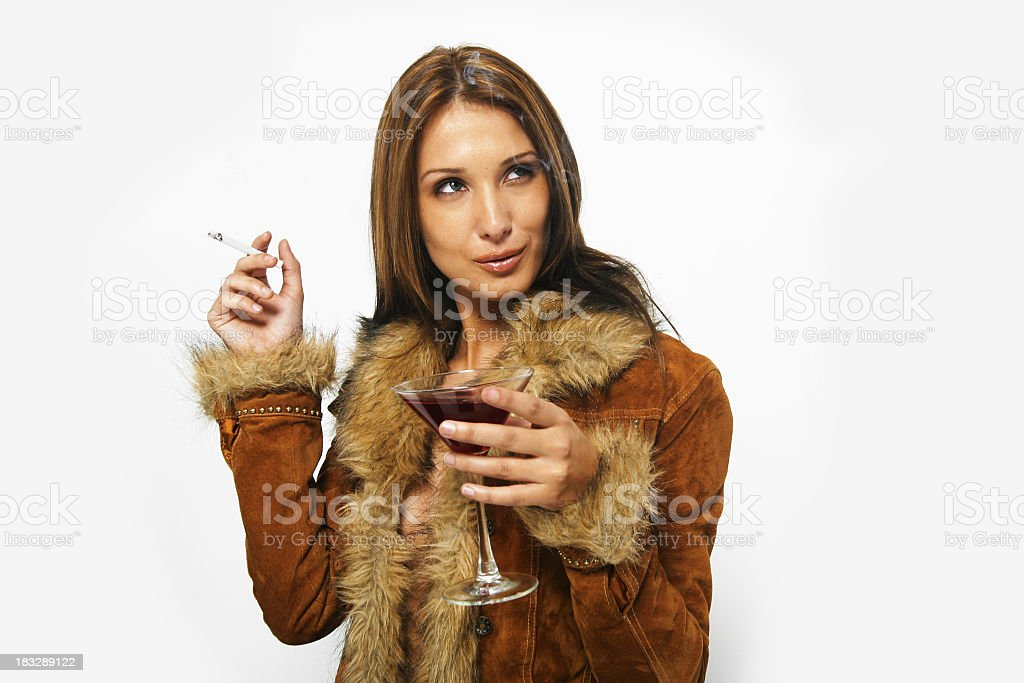 Model with martini royalty-free stock photo