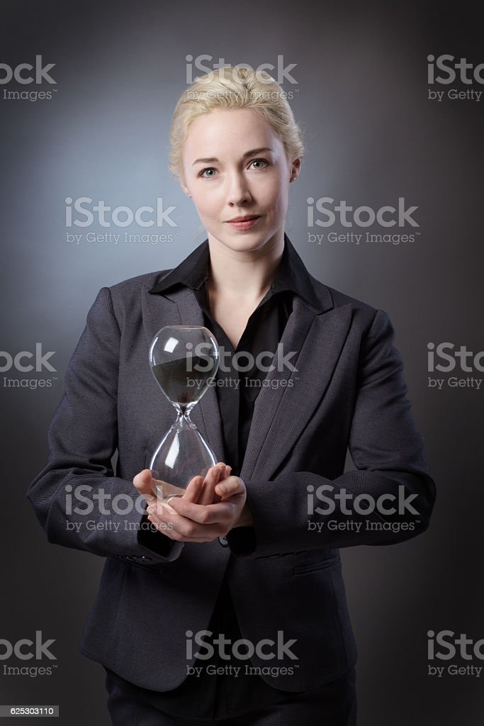 model with sandtimer stock photo
