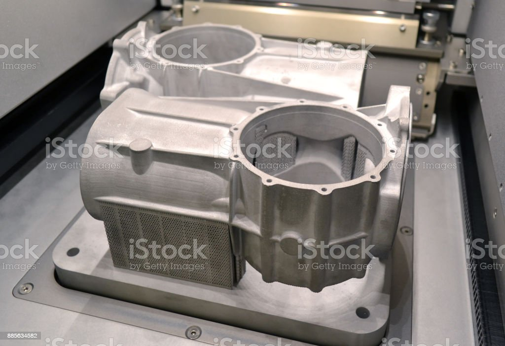 Model with supports created in laser sintering machine stays in working chamber stock photo