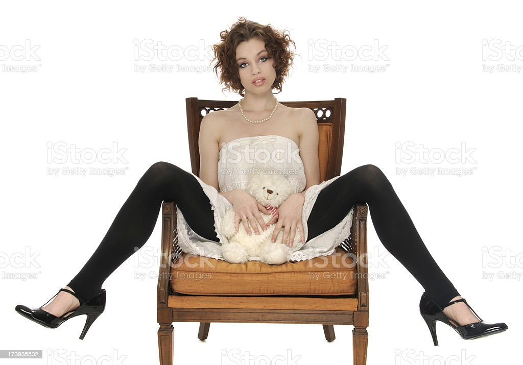 Modelo con Osito de peluche - foto de stock