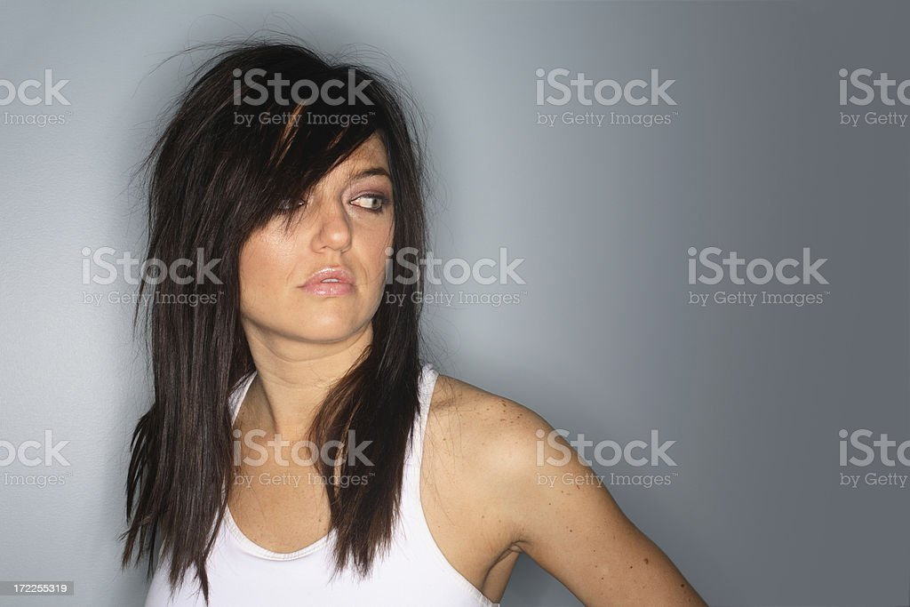 Model with White Tee Shirt royalty-free stock photo