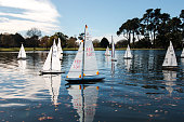 Christchurch, New Zealand - May 12, 2015: Competition of model yachts at Hagley Park Yach Club