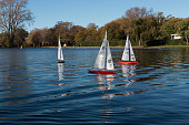 Christchurch, New Zealand - May 12, 2015: Competition of remote controlled model yachts, Model Yacht Club, Hagley Park, Christchurch, New Zealand