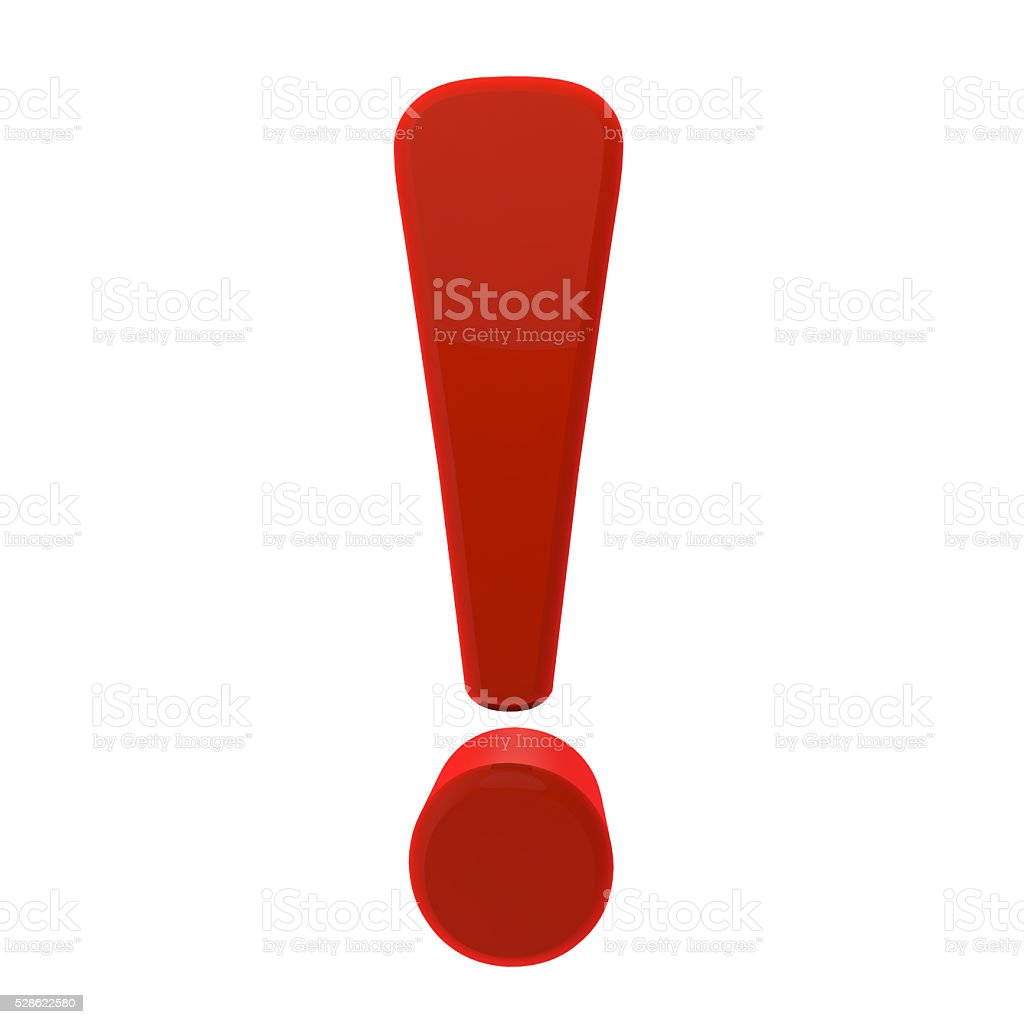 modeled in 3D exclamation point on a white background stock photo