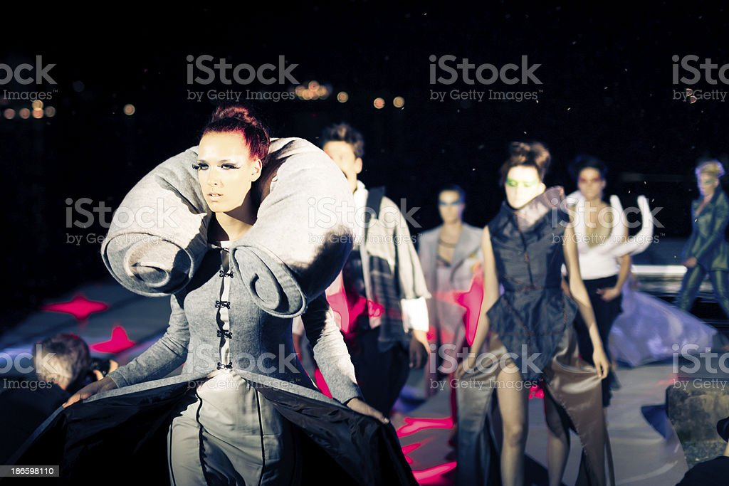 models at a fashion show stock photo