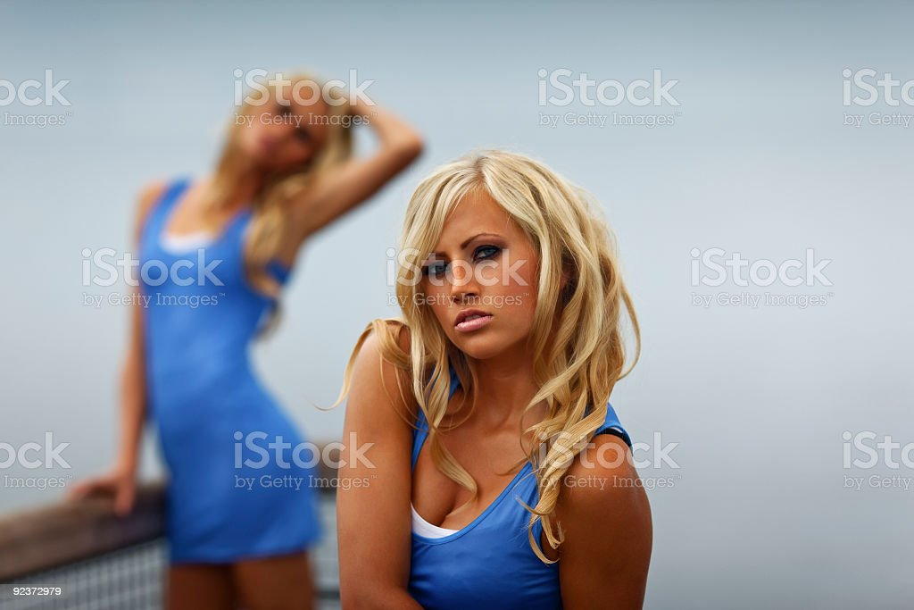 Models by the sea royalty-free stock photo