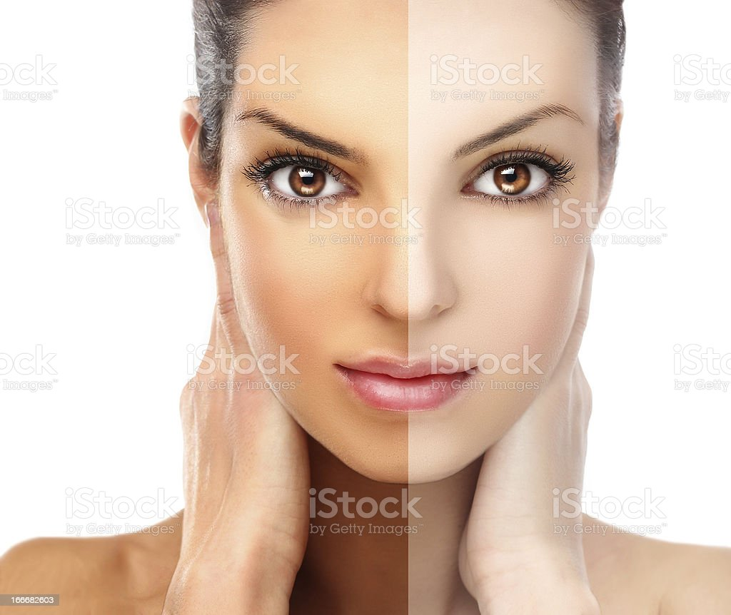 Models face divided in two parts both tanned and natural stock photo