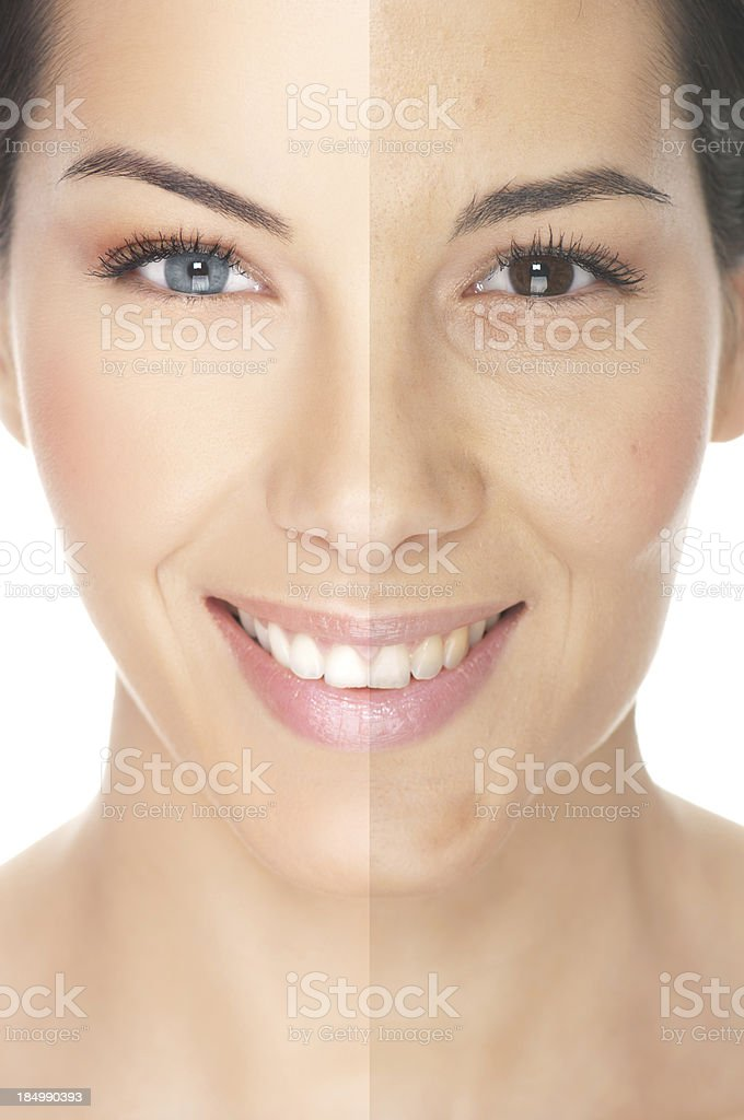 Model's face showing different makeup looks stock photo
