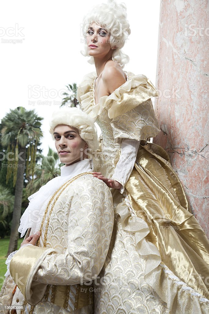 Models In Themed 18th Century Marie Antoinette Style Costumes stock photo