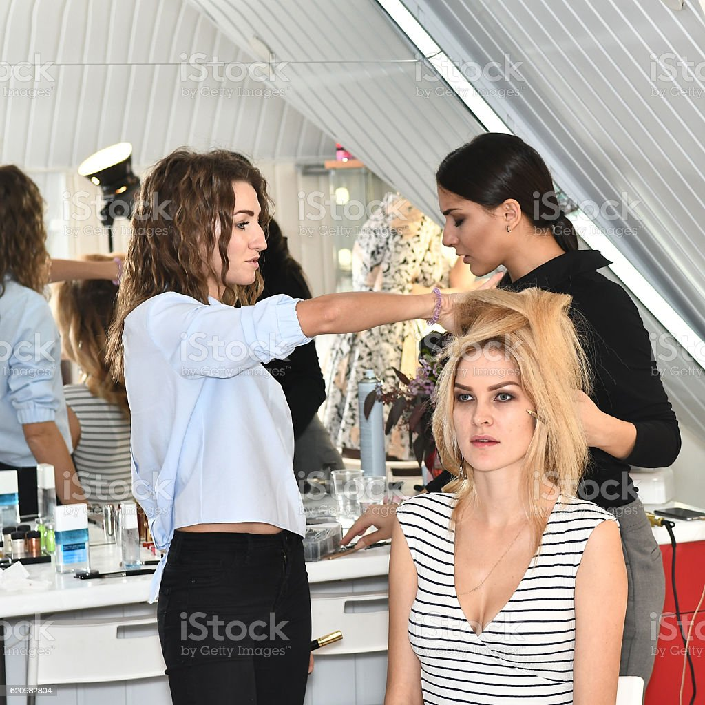 models, makeup artists and stylists while working foto royalty-free