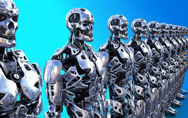 Modellen van veel robotische Cyborg-dienaren foto