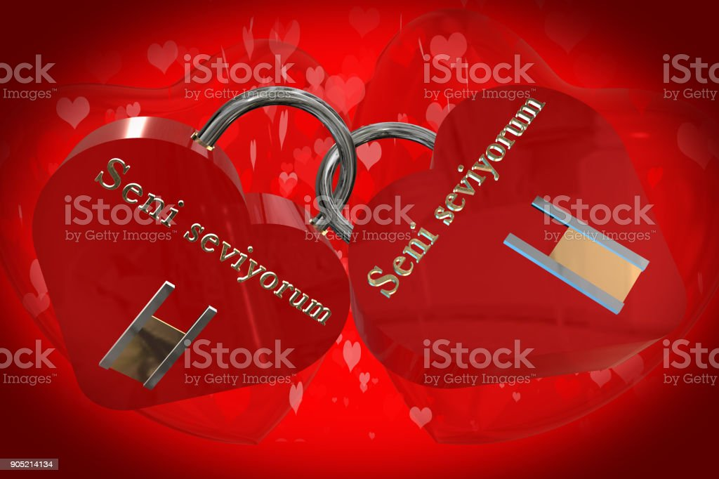 3d Models Of Red Heart Shaped Padlocks Locked Together With The
