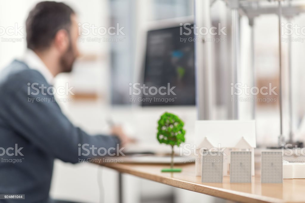 Models of solar panels standing on the office table stock photo