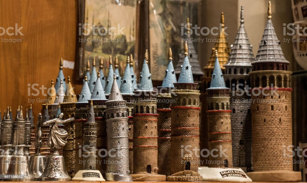 Models of  the Galata Tower stock photo
