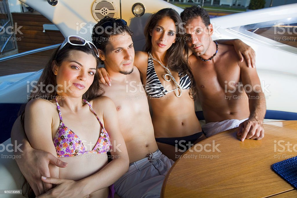 Models on a yacht royalty-free stock photo