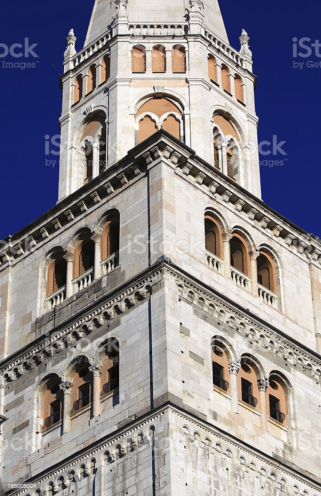 Modena, Cathedral: the Ghirlandina bell-tower royalty-free stock photo