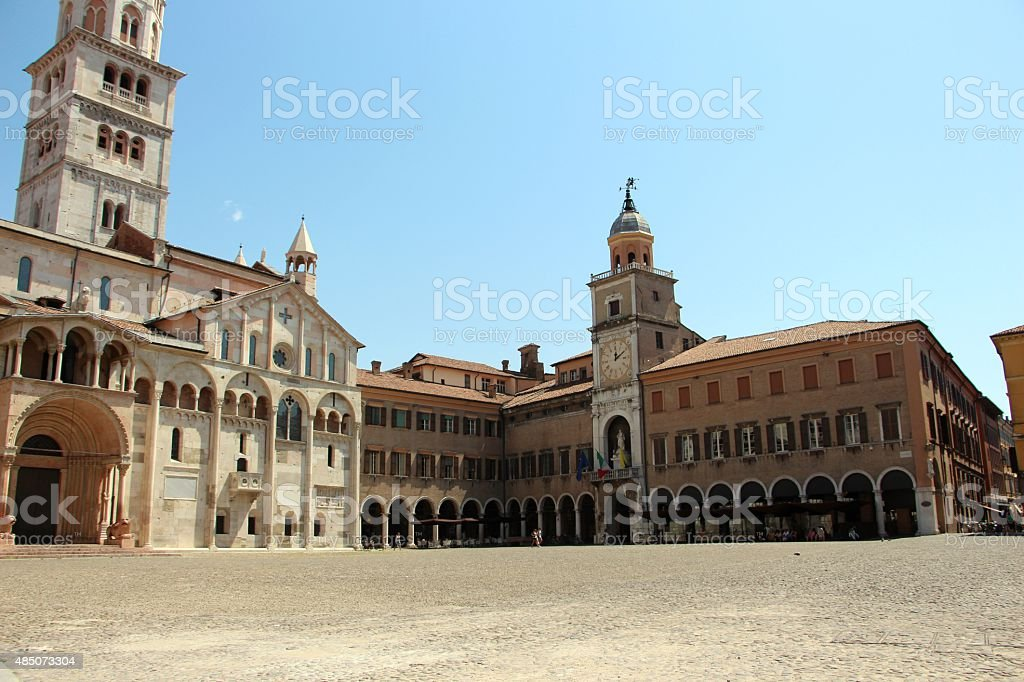Modena - duomo and town hall ( palazzo comunale) stock photo