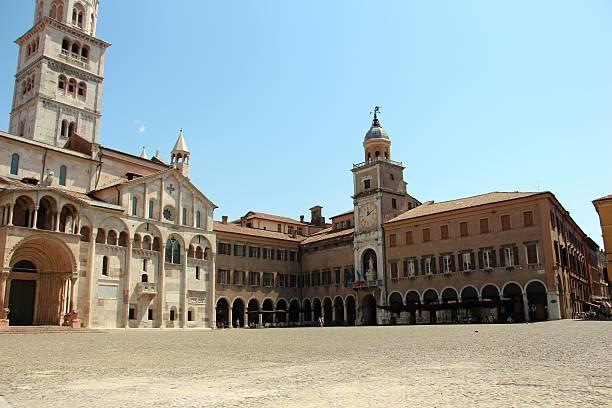 Modena - duomo and town hall ( palazzo comunale) stock photo