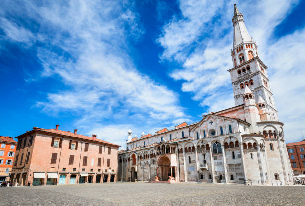 Modena, Emilia-Romagna, Italy Modena, Italy - Piazza Grande and Modena Cathedral, Roman Catholic church, world heritage site. piazza grande stock pictures, royalty-free photos & images