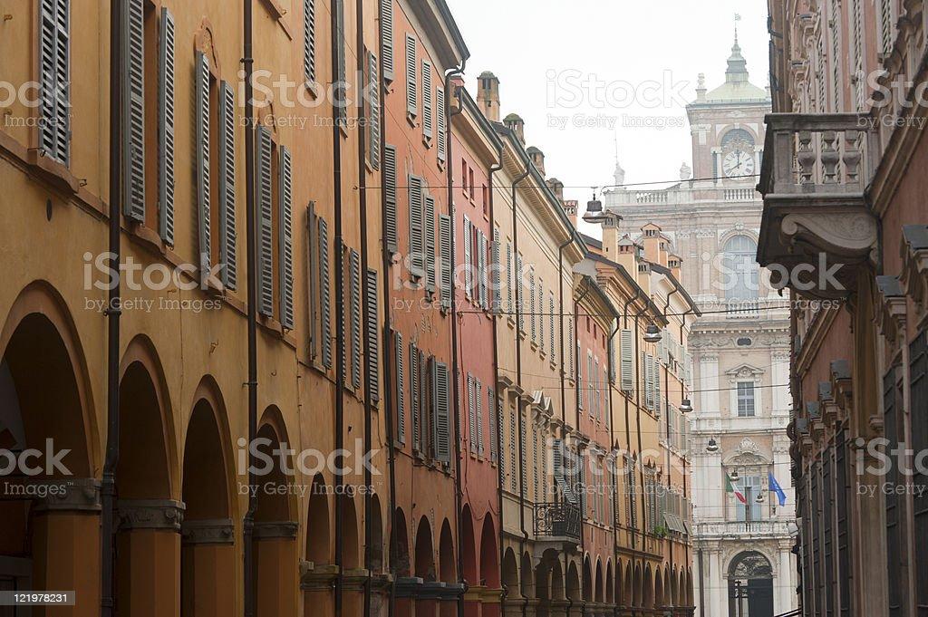 Modena (Emilia-Romagna, Italy) - Street with portico stock photo