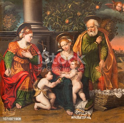 istock Modena - The painting of Holy Family and St. John the Baptist  in church Chiesa di San Pietro by Gian Gherardo delle Catene from 16. cent. 1074971908