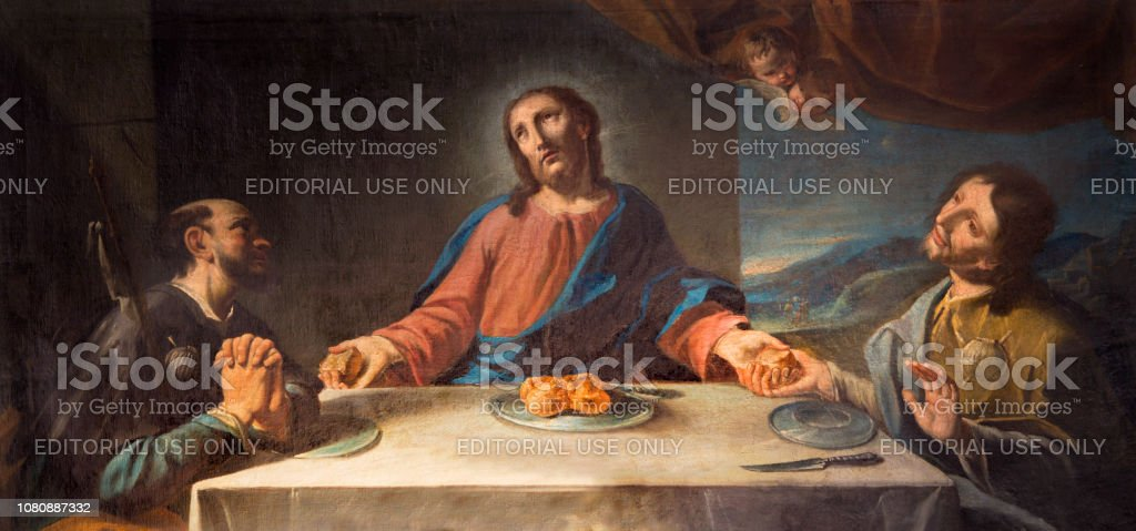 Modena - The painting of Supper with two Disciples of Emmaus in  church Chiesa di San Pietro by unknown artist. stock photo