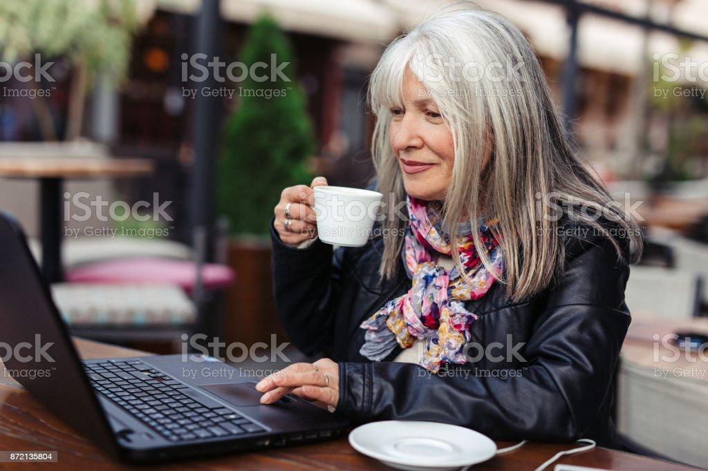 Moder woman shopping online stock photo