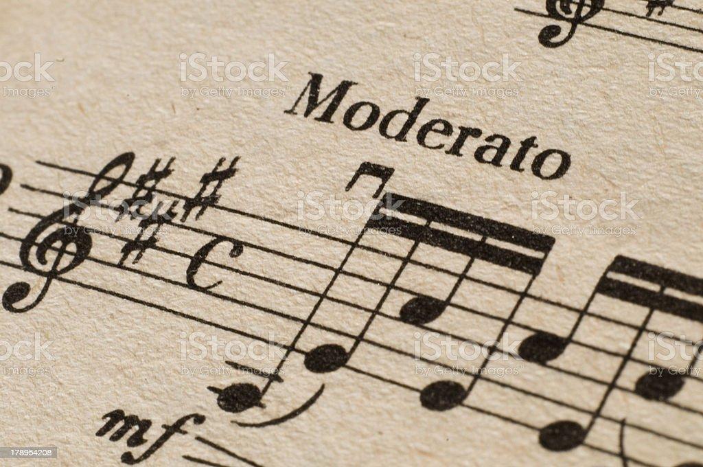 Moderato - music sheet stock photo