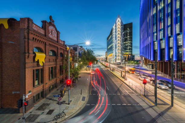 Moderm and Traditional Iconic Buildings in North Terrace at Night stock photo