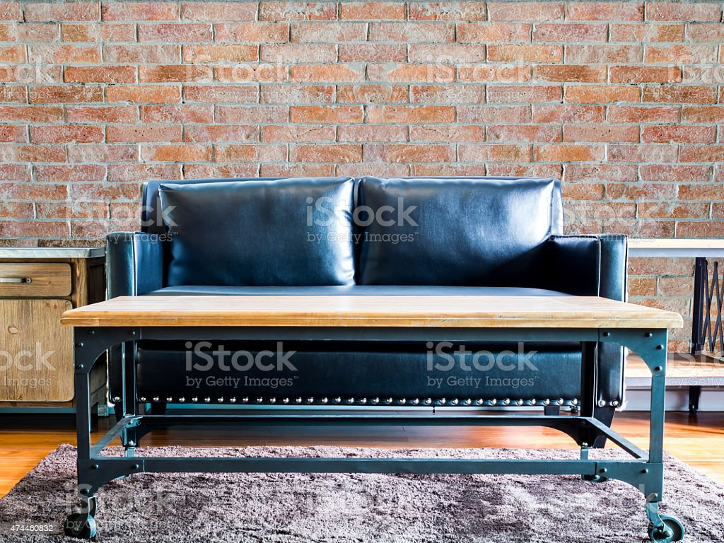 Moderm Living Room Interior Design With Black Couch Brick Wall Stock