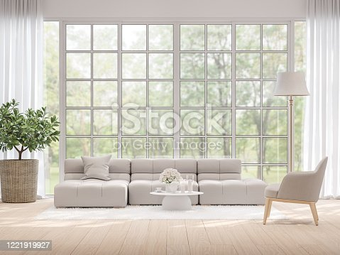 1066863894 istock photo Moderm living room with blurry nature view background 3d render 1221919927
