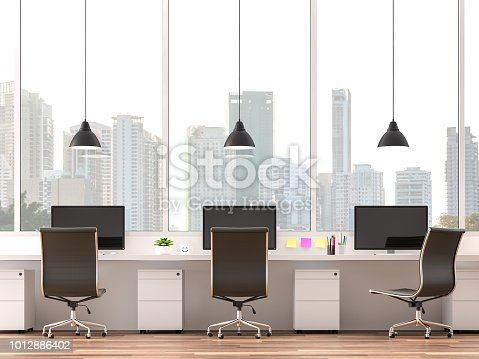 istock Moderm office with city view 3d render 1012886402