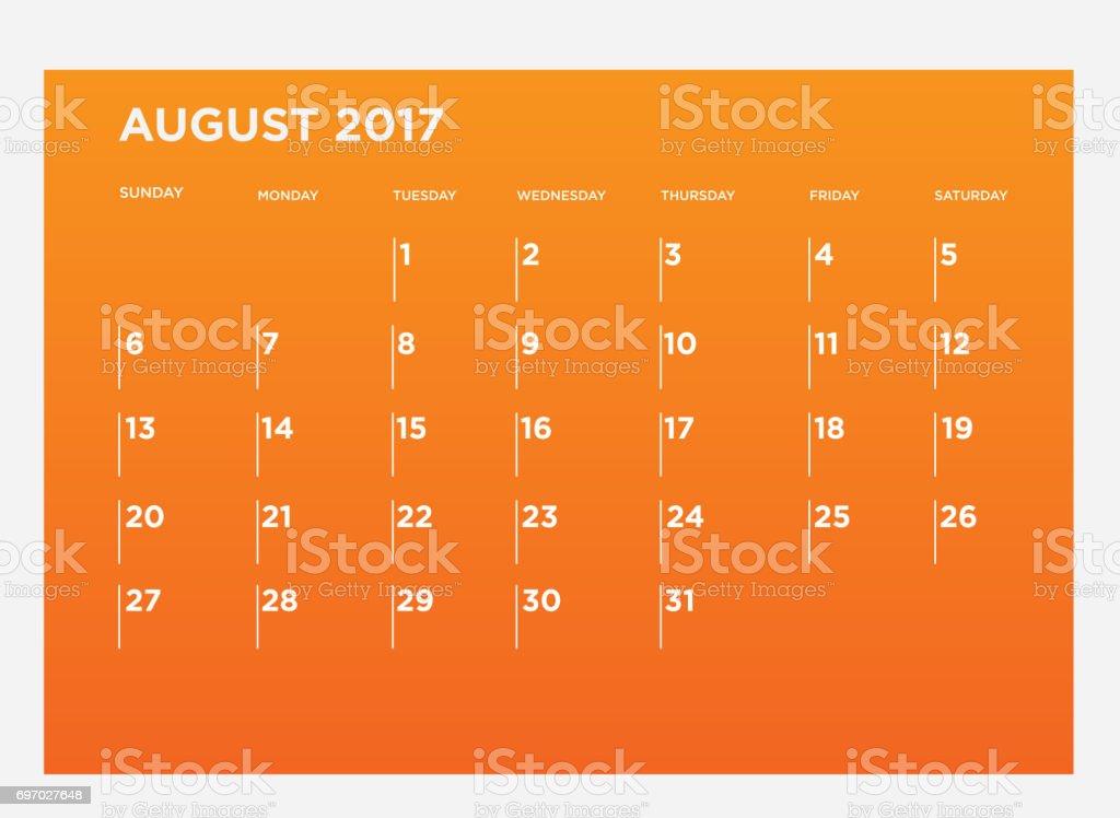 Modern 2017 Monthly Calendar August stock photo