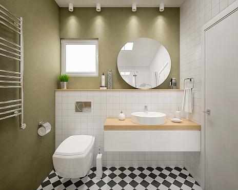 Modern 3d bathroom render