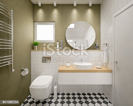3d render of a cozy bathroom ready to be made and used in some apartment.