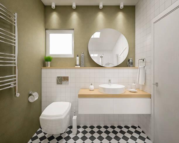 현대 3d 목욕탕 렌더링 - 욕실 뉴스 사진 이미지