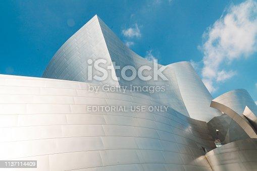 Los Angeles, California - 5 October, 2018: Modern architecture on walt disney concert hall in Los Angeles California.