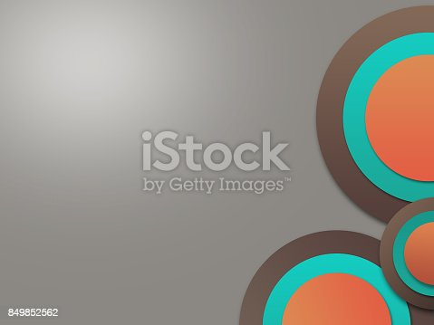istock Modern abstract circle background for business, orange green brown 849852562