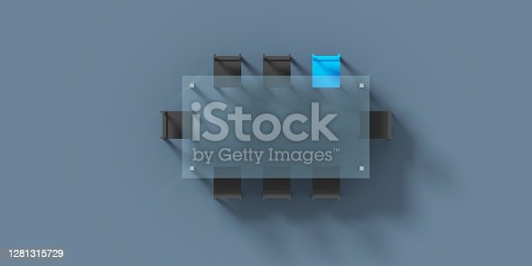 Empty dark board table made of glass corporate business meeting concept with copy space. Top view. 3D illustration.