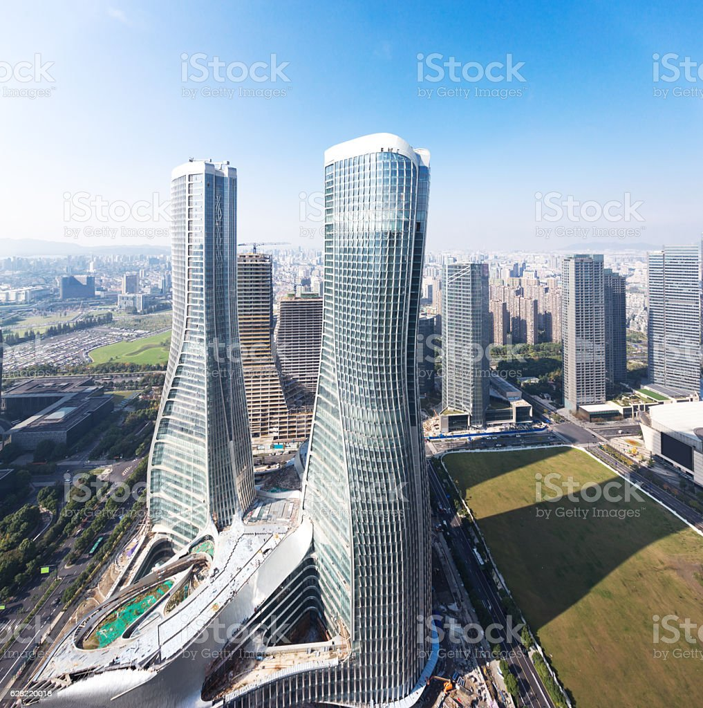 modern abstract office buildings in hangzhou stock photo