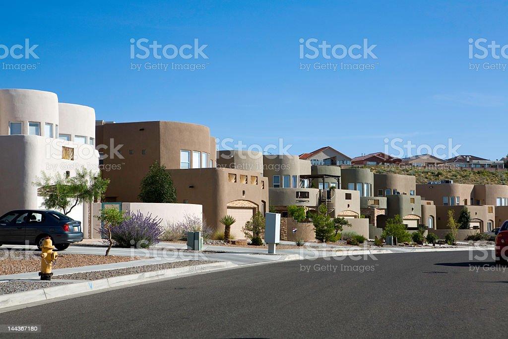 Modern Adobe homes in a neighborhood stock photo